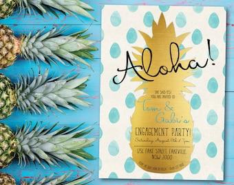 Tropical engagement invitation, tropical engagement, engagement invitation, beach party, aloha, pineapple, summer, Hawaii, blue, gold (Gabi)