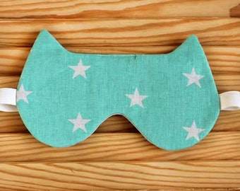 Sleep Mask Cat Star, Sleeping Mask, Gift for her, gift for travelers, cotton sleep mask, travel eye mask, Mother's Day gift, Bridesmaid Gift