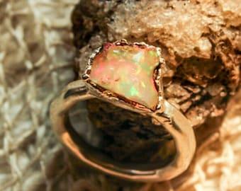 Beautiful Rough & Raw Elecroformed Opal rings