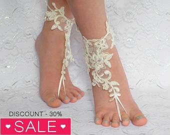Ivory Lace wedding shoes, beach wedding shoes, wedding lace shoes, bridesmade gift, beach shoes 10