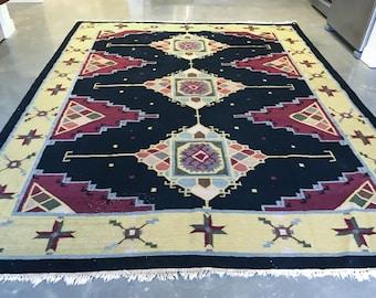 8x10 vintage dhurrie kilim rug large living room rug free shipping vyra0810