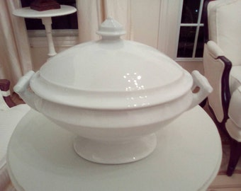 Antique large white Ironstone Tureen