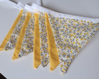 Yellow and floral bunting