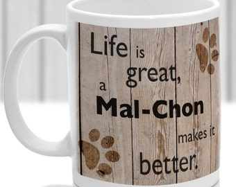 Mal-Chon dog mug, Mal-Chon gift, dog breed mug, ideal present for dog lover