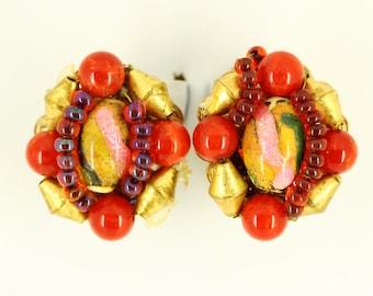 Rare 1940s Hobe Clip On Earrings - Designer Estate Jewelry - Red Gold Statement Earrings, Hobe Jewelry, Cluster Earrings, Vintage Jewellery