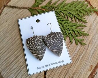 """Light """"Dragonscale Shield"""" polymer clay earrings, two-sided earrings, amazing look earrings, handmade earrings"""