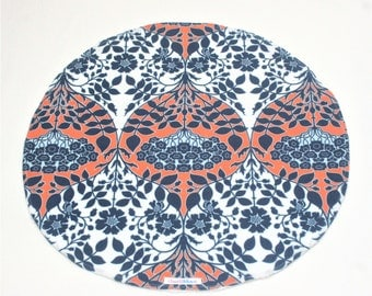 Round Burp Cloth 100% Cotton Fabric and Terry Towelling Backing Navy Orange White Floral Baby Shower Gift
