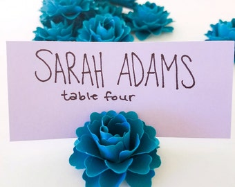 Place Card Holders | Teal Paper Flowers (Set of 50)