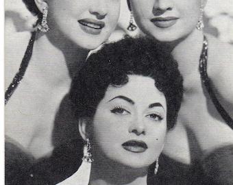Vintage 1960's The DeCastro Sisters Black & White Portrait Photo Arcade Card