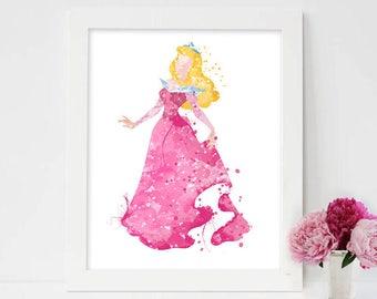 Princess Aurora, Disney Sleeping Beauty, Sleeping Beauty, Prince Phillip, Knotgrass, Fauna, Samson, sleeping beauty watercolor painting