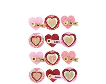 12 Stickers 3D heart - hearts stickers - heart - heart - Stickers 3D heart - Relief Scrap adhesive Stickers