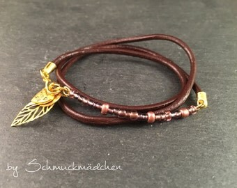 Wickelarmband Braun Gold