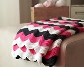 Bright striped crochet afgan blanket