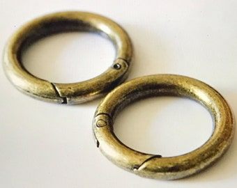 "Set of 4...1"" Antique Brass Spring Gate Ring.These are sold as a set 4 rings of the same finish"