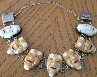 Rare Japanese Bracelet of Porcelain Faces