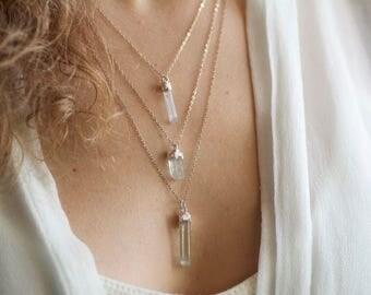 Aquamarine Crystal Necklace. Aquamarine Necklace. Aquamarine Bar Necklace. March Birthstone Necklace. Birthstone Necklace.