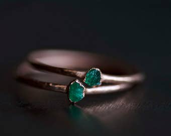 READY TO SHIP. Emerald Ring. Emerald Stacking Ring. Raw Emerald Ring. Rough Emerald Ring. Green Emerald Ring. Electroformed Emerald Ring.