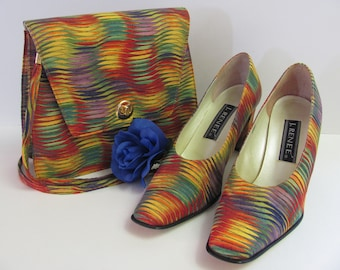 RAINBOW J. RENEE, J. Renee Tie Dye Shoes and Purse, Fabric Patterned Rainbow Design Retro J.Renee Rainbow Shoes and Purse Set, Fabulous
