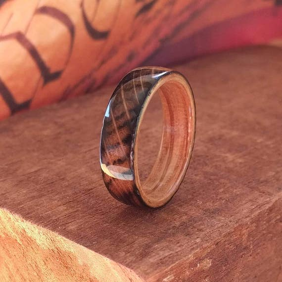 Whiskey Barrel Wood Ring - Whiskey Barrel Ring Wooden Ring Men Wedding Band Women Engagement Ring Wood Anniversary Reclaimed Wood