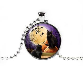 Halloween Cats Pendant Halloween Cats Necklace Cat Jewelry Photo Glass Pendant