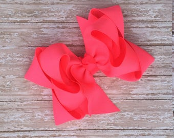 Double stacked hair bows, double layer hair bows, neon double stacked hair bows, girls hair bows, 5 inch hair bows, neon pink hair bows,