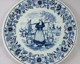 Vintage Delfts Plate with Maiden holding buckets