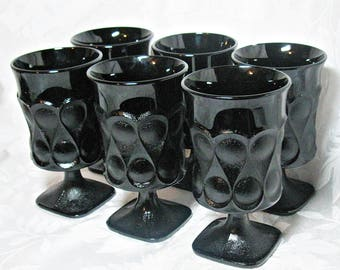 Set of 6 Vintage Noritake Ice Tea Glasses - Black Spotlight Pattern