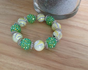 Green & White Glass Bracelet
