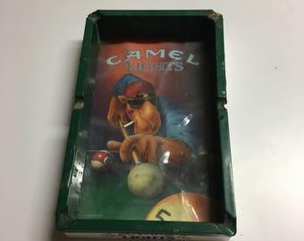 Vintage Camel Lights ashtray, pool table ashtray, man cave,