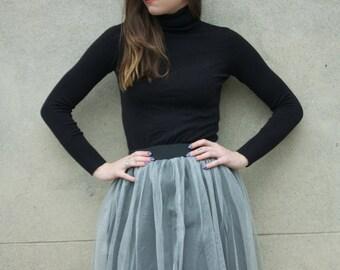 Silver flared skirt