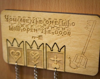 Kingdom Hearts Inspired Lasercut & Engraved keyring and wall mount