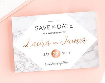 Modern Marble Save the Date/Wedding Announcement Cards