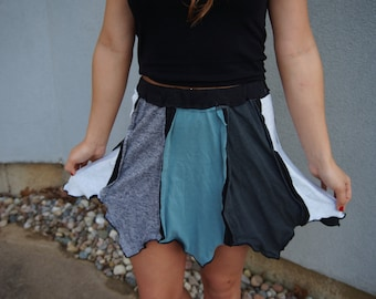 Vibrations of the Rain Reversible organic upcycled pixie skirt