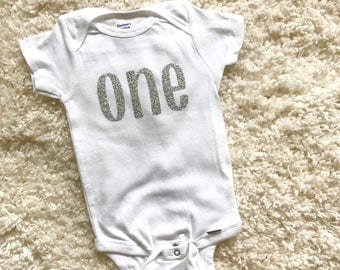 first birthday onesie - first birthday - birthday outfit - first birthday party - one years old - short sleeve - glitter onesie - one onesie