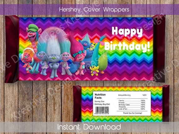Trolls Personalized Candy Bar Wrappers