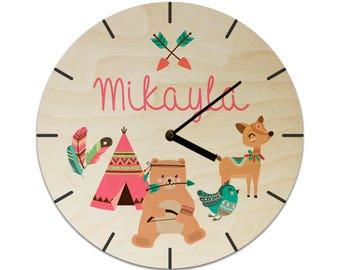 Tribal Woodland Characters Animals Bear Deer Teepee Feathers Bird Personalised Childrens Clock / Kids Clock