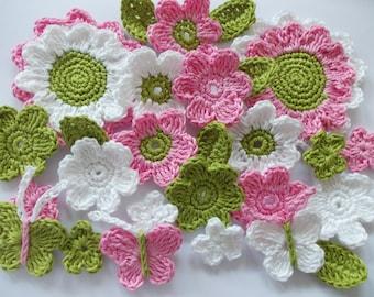 Crochet flower set with butterflies - 27 pieces