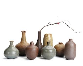 8 pc Neutral Bud Vase collection set, flower vase set, Flower vases display, Modern Home Decor