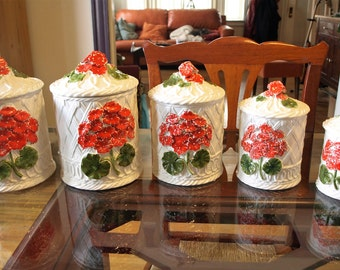 Vintage Napcoware Japan Porcelain Food Storage Canister Set (5 piece) with Lattice and Flower Design – Perfect Condition