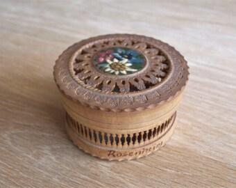 German Round Wood Carved Keepsake Box Marked Rosenheim – Handarbeit with hand painted flowers on top lid