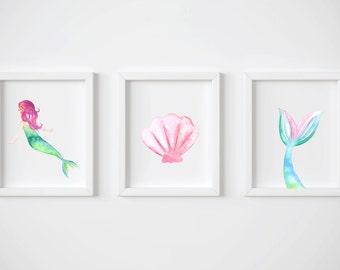 Mermaid Nursery Art, Printable Nursery Set, Nursery Printables, Nursery Art, Nursery Decor, Girl Nursery Print, Nursery Instant Download