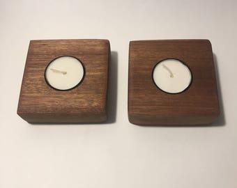 Mahogany Tea Light Candle Holders