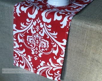 Red Table Runner Home Decor Dining Room Table Centerpiece Decoration Red and White Floral Linens