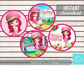 Strawberry Shortcake Cupcake Topper // INSTANT DOWNLOAD
