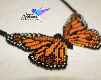 Necklace Butterfly monarch-Papalotl-Mexican-necklace of beadwork-crafts-necklace mostacilla-Collar huichol-beaded necklace-butterfly