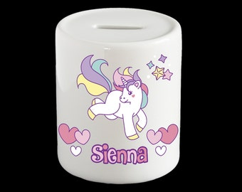 Personalised Unicorn Piggy Bank, Unicorn Money Box, Unicorn gift
