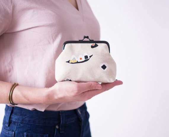 Sushi Coin Purse, Kiss Lock Purse, Change Purse, Beige metal frame purse, Kawaii Japanese Fabric, Money Purse, Gifts for Her