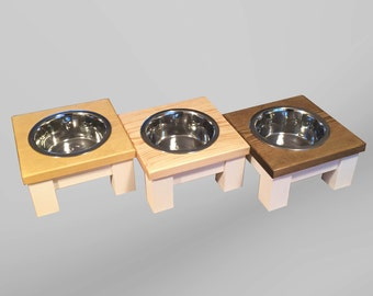 Medium single dog bowl table, raised dog bowl, raised feeder, dog accessories, wooden dog feeder