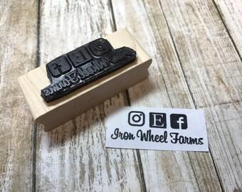 Social Media Rubber Stamp Custom Business Name with Social Media Icons, Personalized Stamp, Custom, Choose your own Font