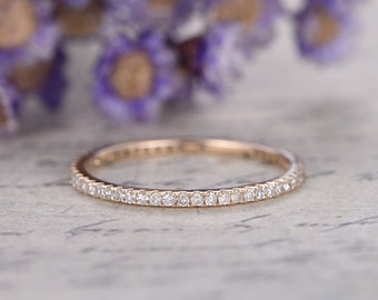 micro pave diamond engagement ring,Full eternity wedding bands women,14k rose gold bridal ring,stackable band,custom made fine jewelry,Thin